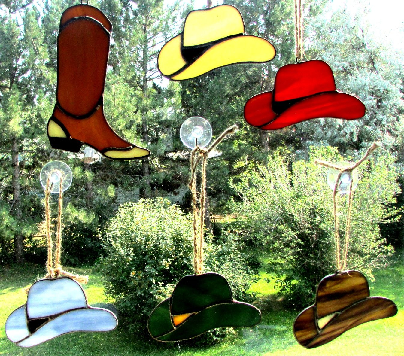 Cowboy Hats Perfect As Suncatcher Ornament Or Hanging From Your Rearview Mirror Www Swankyglass Com Stained Glass Patterns Ornament Decor Glass Art