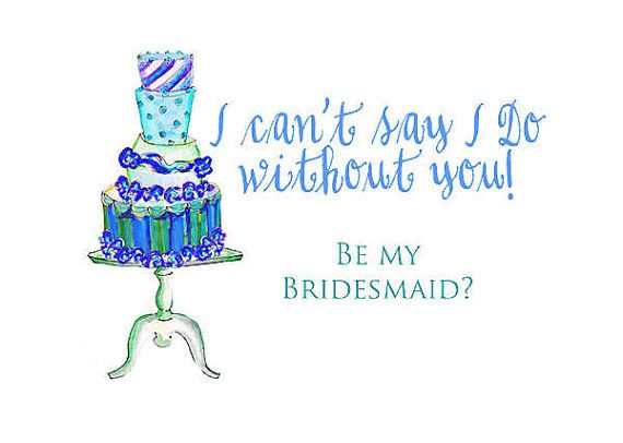 Bridesmaid Cards 6 Wedding Cards Cant say i do by ColorStyleDesign