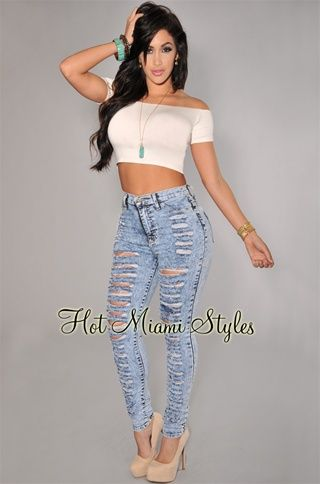 Light Blue Acid Wash Denim Destroyed High-Waist Skinny Jeans $50 ...