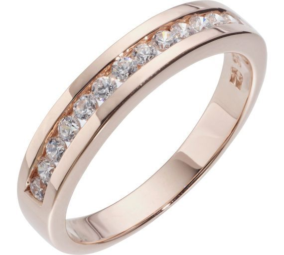 18ct Rose Gold Plated Silver Cubic Zirconia Eternity Ring At Argos Co Uk Your Online For Rings Las Jewellery