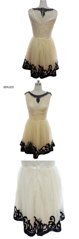 Jieruize champagne tulle black beaded short prom dresses aline