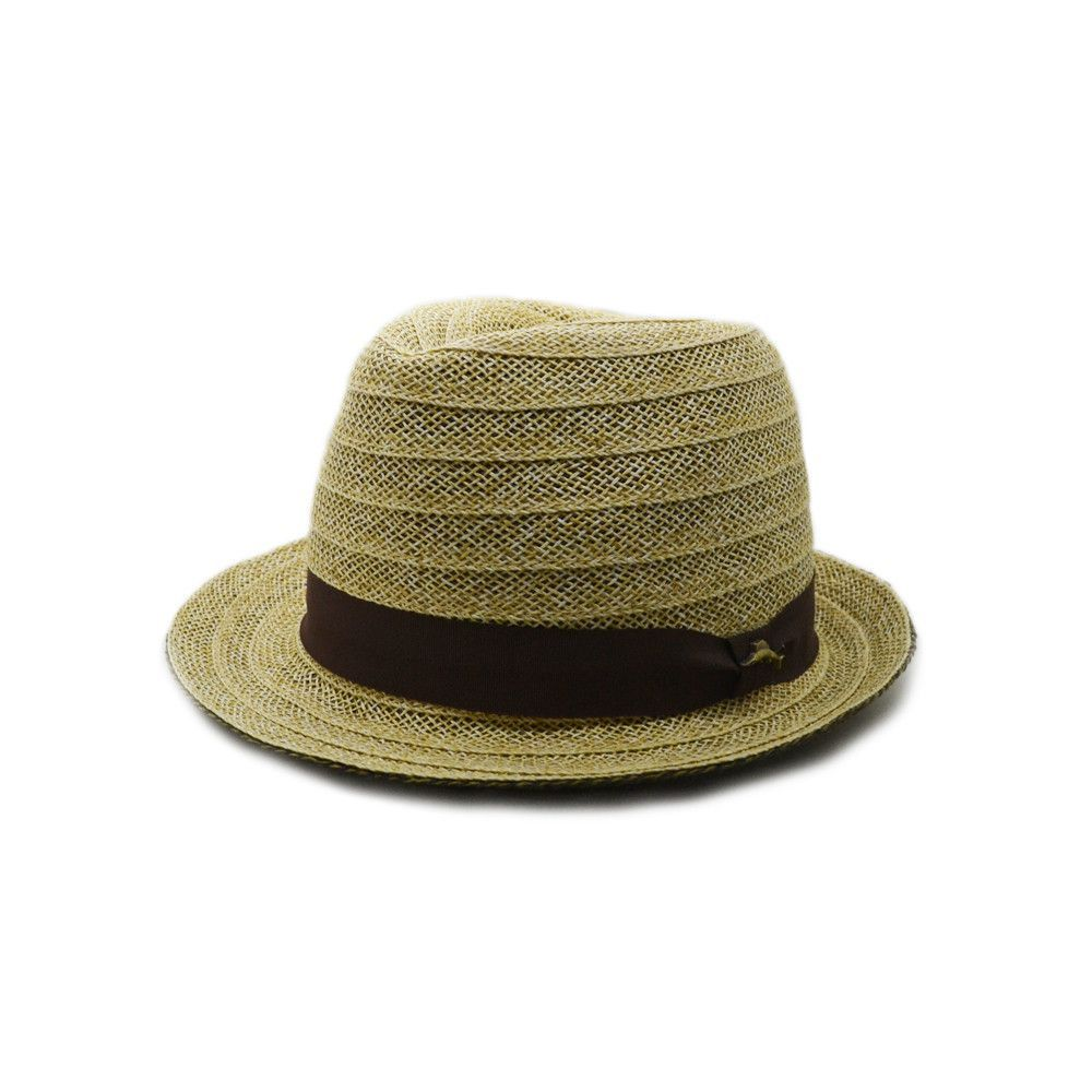 Tommy Bahama Striped Straw Fedora in Natural with Brown Band