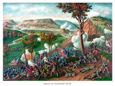 American Civil War print featuring the Battle of Missionary Ridge. Postcards, Greetings Cards, Art Prints, Canvas, Framed Pictures, T-shirts & Wall Art by John Parrot
