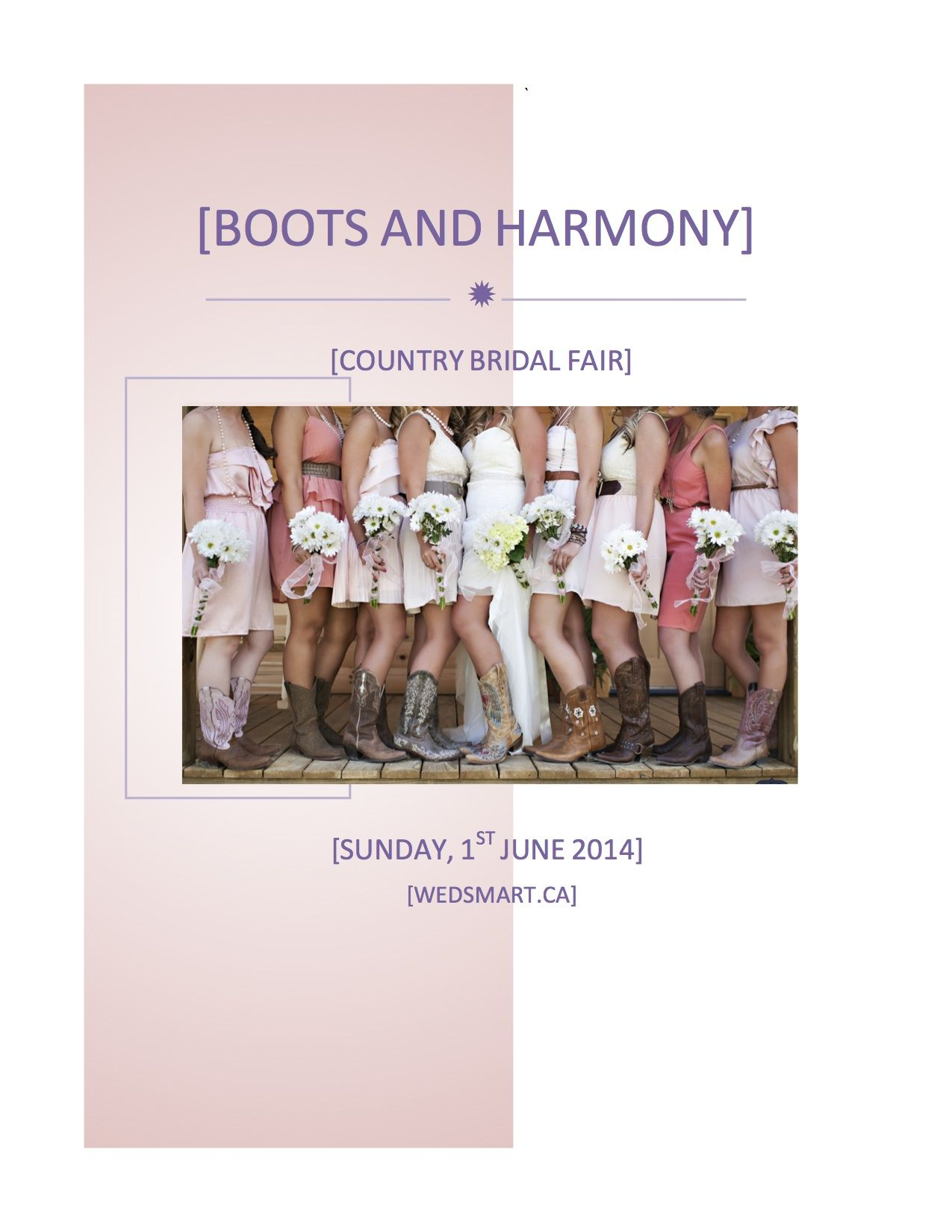 Boots and Harmony, bridal fair, 1st June 2014, Country Heritage Park, Milton, Ontario visit http://www.bootsandharmony.ca/ for tickets and information