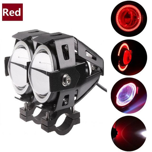 2pcs Motorcycle LED Headlight Fog Light with 1pc switch as gift for U7 125W 3000LM Devil Angel Eye DRL Moto Spot light