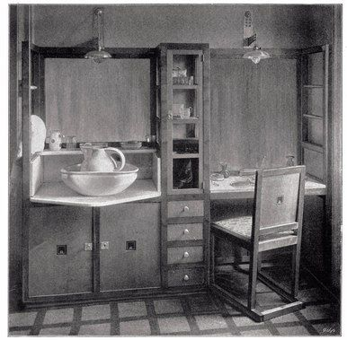 Josef HOFFMANN (1870-1956)  Washstand and toilette table in the master bedroom of the Salzer apartment, Vienna 1902  Illustration from Das Interieur, 1903