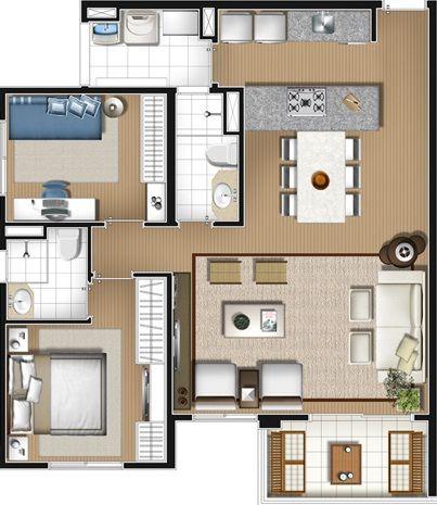 Apartamento planta 77 m2 3 quartos 1 suite cozinha - Modelos de casas de campo pequenas ...