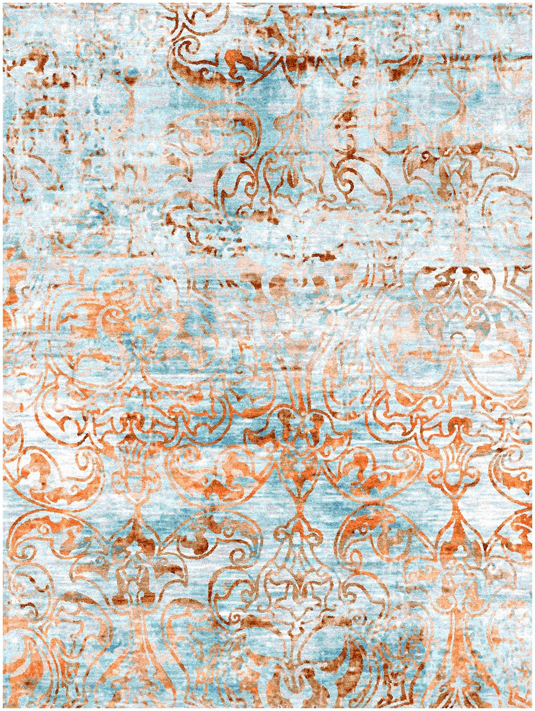 The Ottoman Ice Blue Orange Rugs From Luxurious Metallica Reserve Collection Of Contemporary Feature