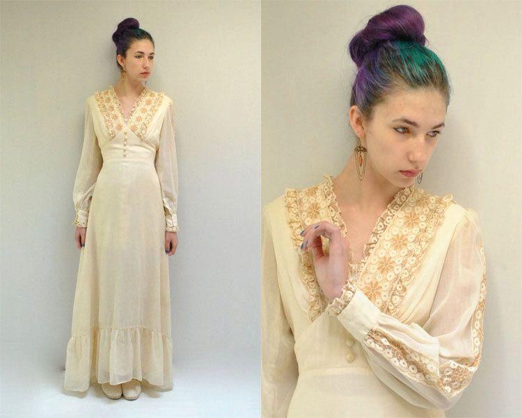 SALE  Cotton Wedding Dress  //  Boho by VintageUrbanRenewal