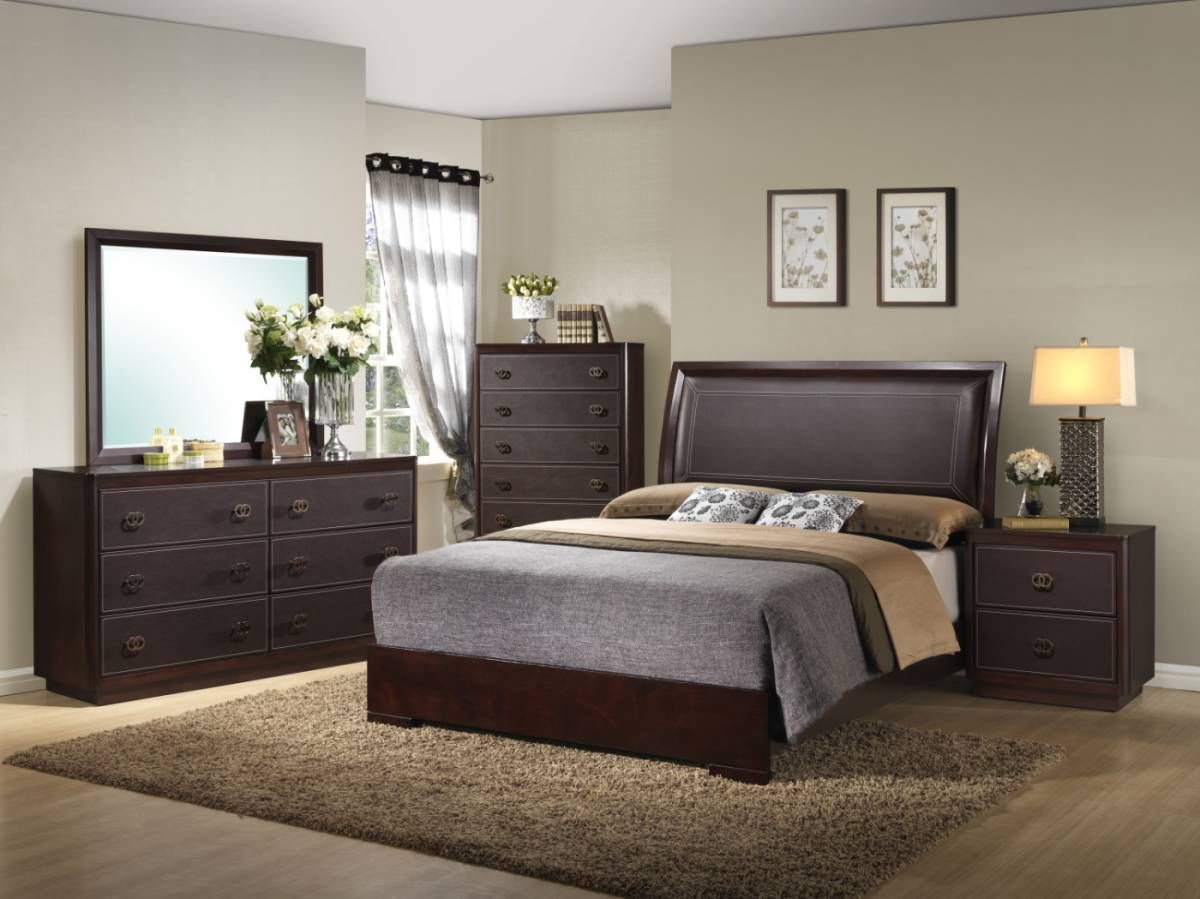 Enchanted Bedroom Suite With Padded Head Bed Deep Cherry Finish