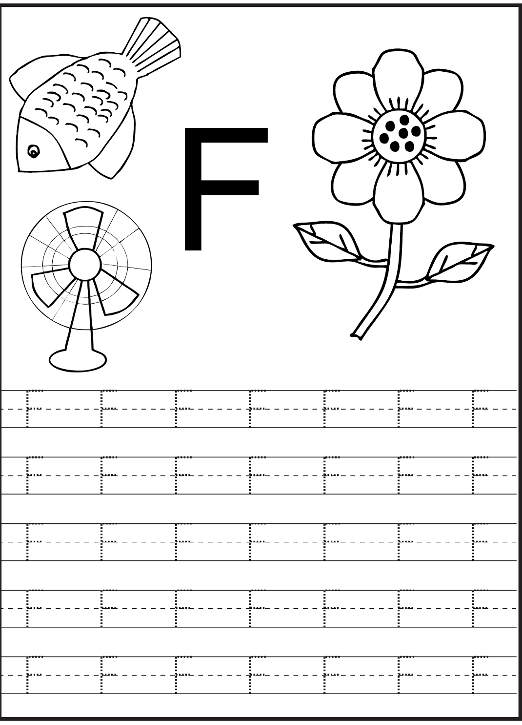 letter f worksheet for preschool and kindergarten activity