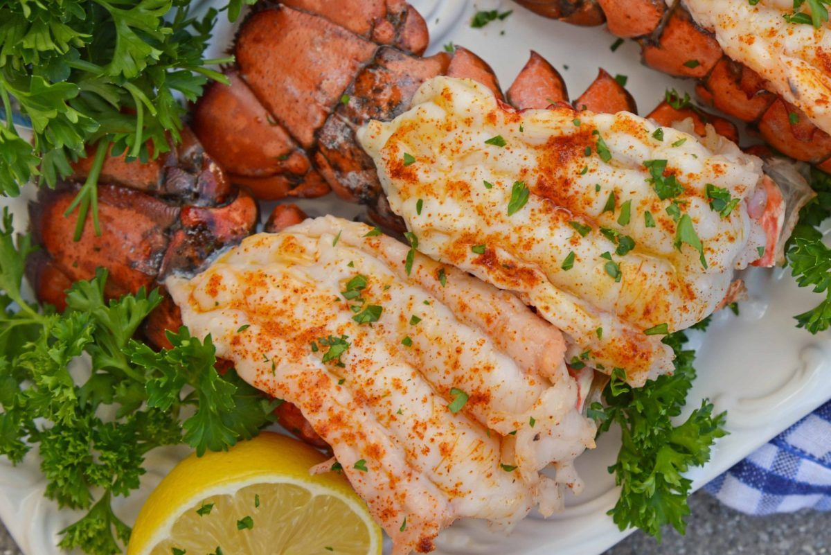 Broiled lobster tails with lemon butter lobster tail