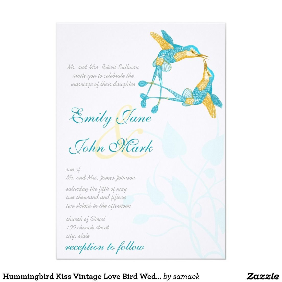 Hummingbird Kiss Vintage Love Bird Weddings Card | Turquoise + ...
