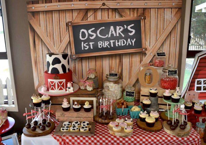 Rustic Barnyard 1st Birthday Party | Birthday party ...