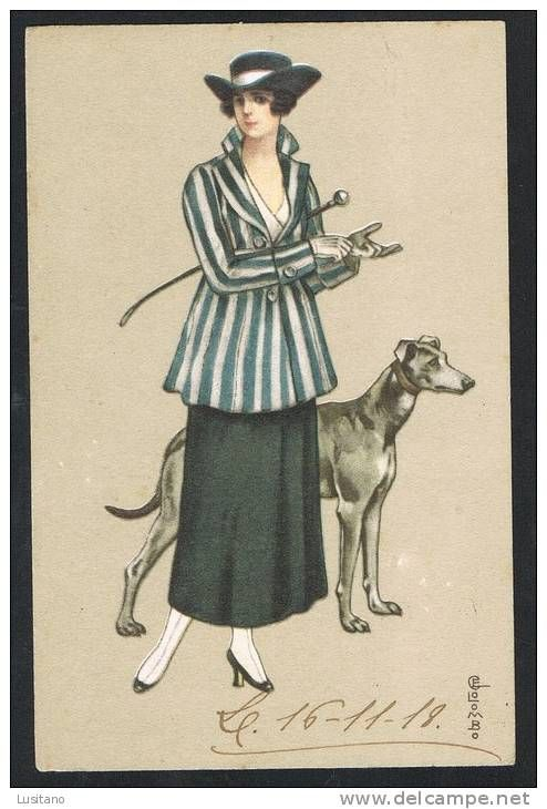 illustrateur colombo e art deco femme mode chapeau chien dog greyhound 1918 2 scans donne. Black Bedroom Furniture Sets. Home Design Ideas