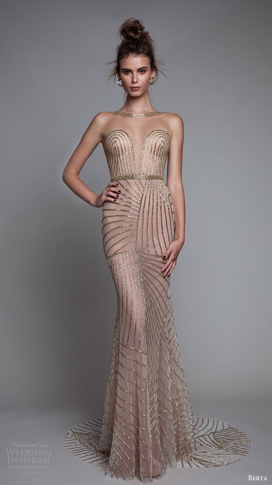 berta rtw fall 2017 (17 09) beaded trumpet evening dress mv