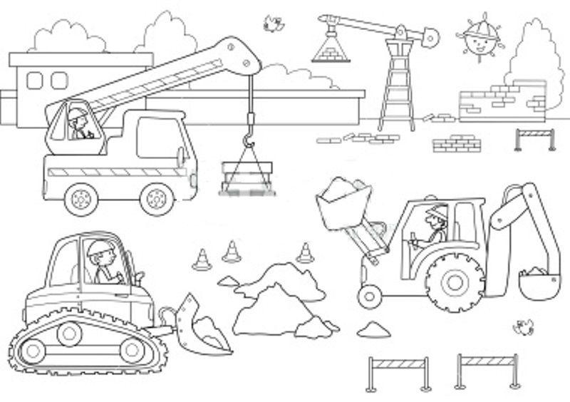 Chantier et construction engin de travail coloring pages free coloring pages et truck - Coloriage de chantier ...