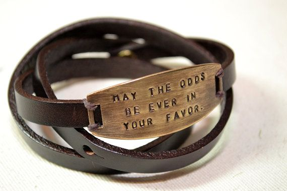 """""""May the odds be ever in your favor"""" leather literary bracelet by TheLetterG #jewelry"""