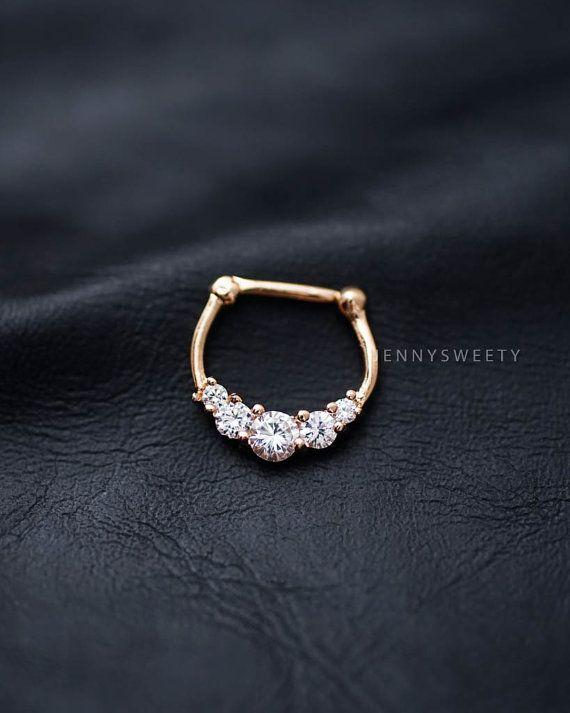 septum ring, septum jewelry, septum piercing 16g 16 gauge, gold CZ zircon pierced
