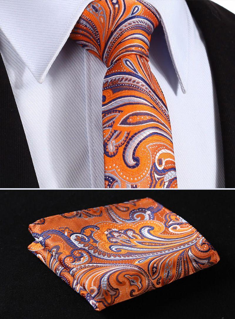 Orange and Purple Flower Tie Patterned Handmade 100/% Silk Skinny Wedding Necktie
