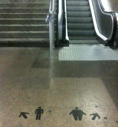 Derogatory graffiti will shame you into taking the stairs...