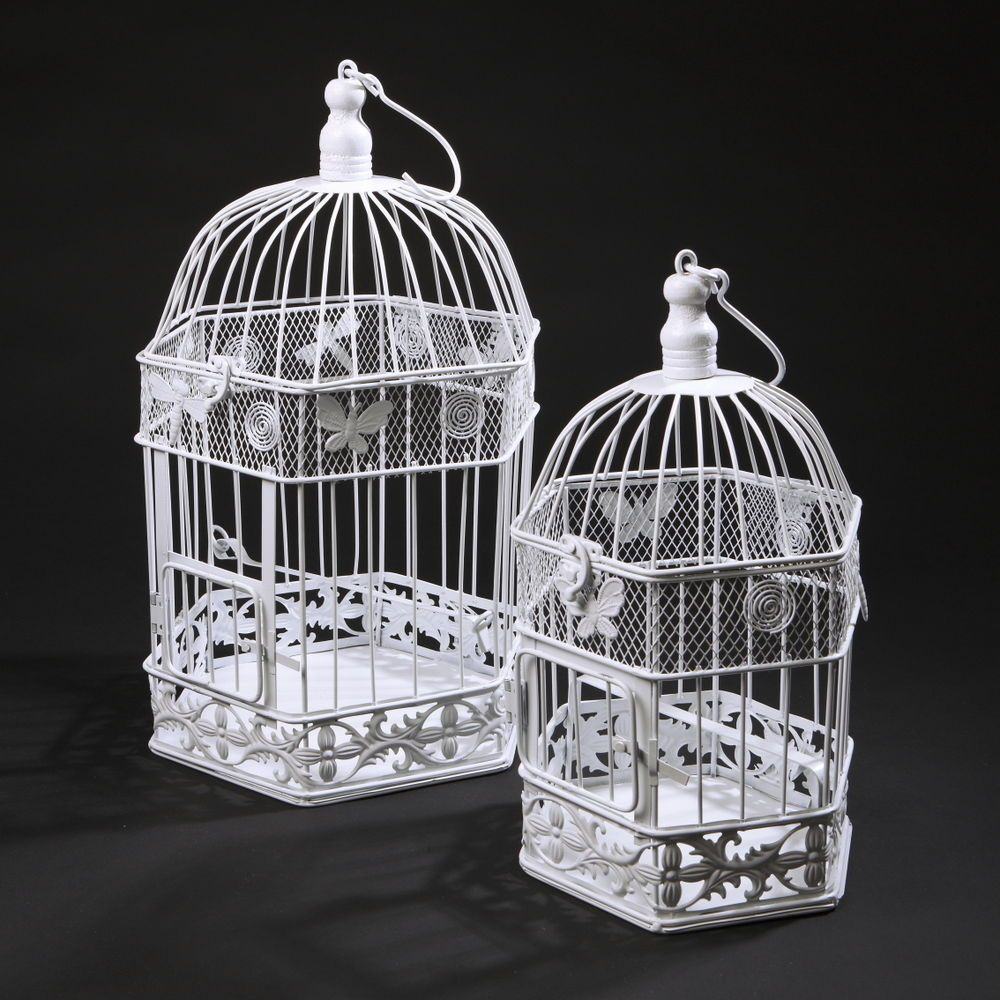 New White Hex Wedding Birdcage Decorative Bird Cage Centrepiece Shabby Chic Bird Cage Decor Bird Cage Centerpiece Wedding Birdcage