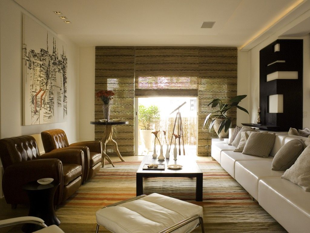 Zen style living room decor with sectional sofa and wooden flooring