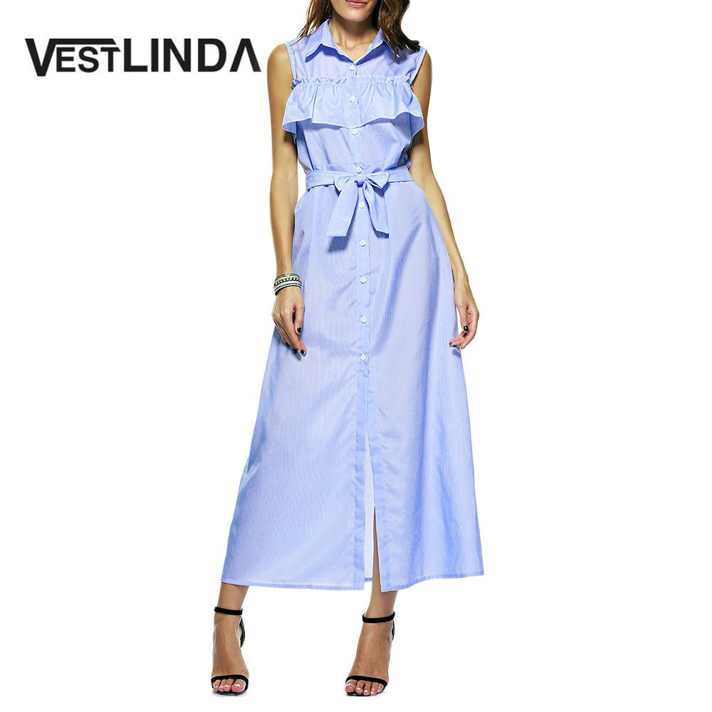 Vestlinda blue striped maxi dress women casual long shirt dress