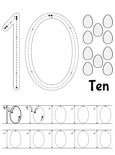 Number 10 Tracing Worksheets Preschool Kindergarten Math Worksheets Preschool Worksheets