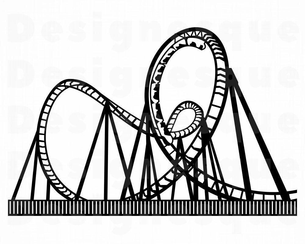 Roller Coaster 3 Svg Roller Coaster Clipart Roller Coaster Etsy In 2021 Roller Coaster Drawing Coaster Art Roller Coaster Images