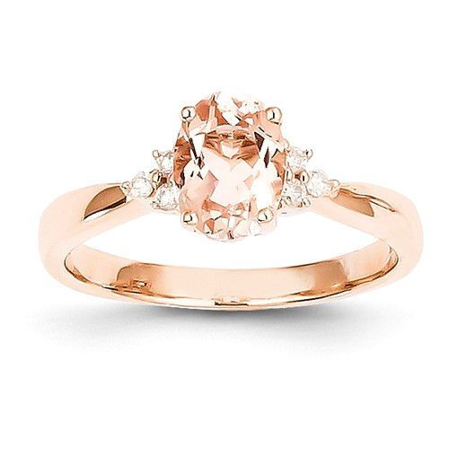 14k Rose Gold Oval Morganite Diamond Accented Ring Diamond stone