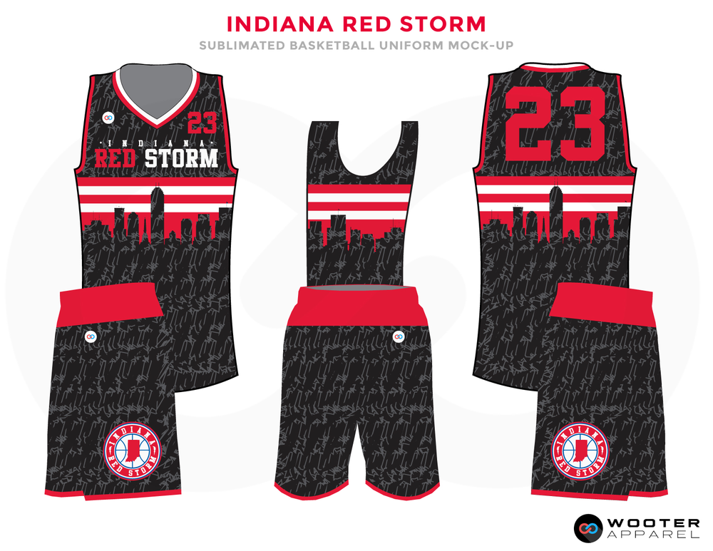cc796ba5c83 INDIANA RED STORM Black Red and White Basketball Uniforms