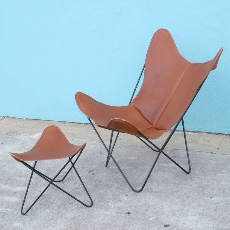 Hardoy Set Aka Butterfly Chair And Ottoman By Jorge Ferrari Hardoy For Knoll Image 2 Butterfly Chair Chair Antique Chairs