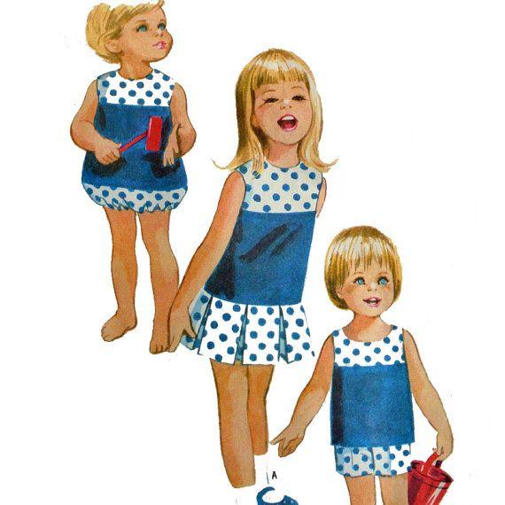 1960s Childrens Vintage Sewing Pattern McCalls 8211 Girls ROMPER ...