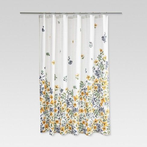 Bring Bold Style To Your Bathroom D 233 Cor With The Threshold Multi Color Floral Shower Yellow Shower Curtains Floral Shower Curtains Printed Shower Curtain