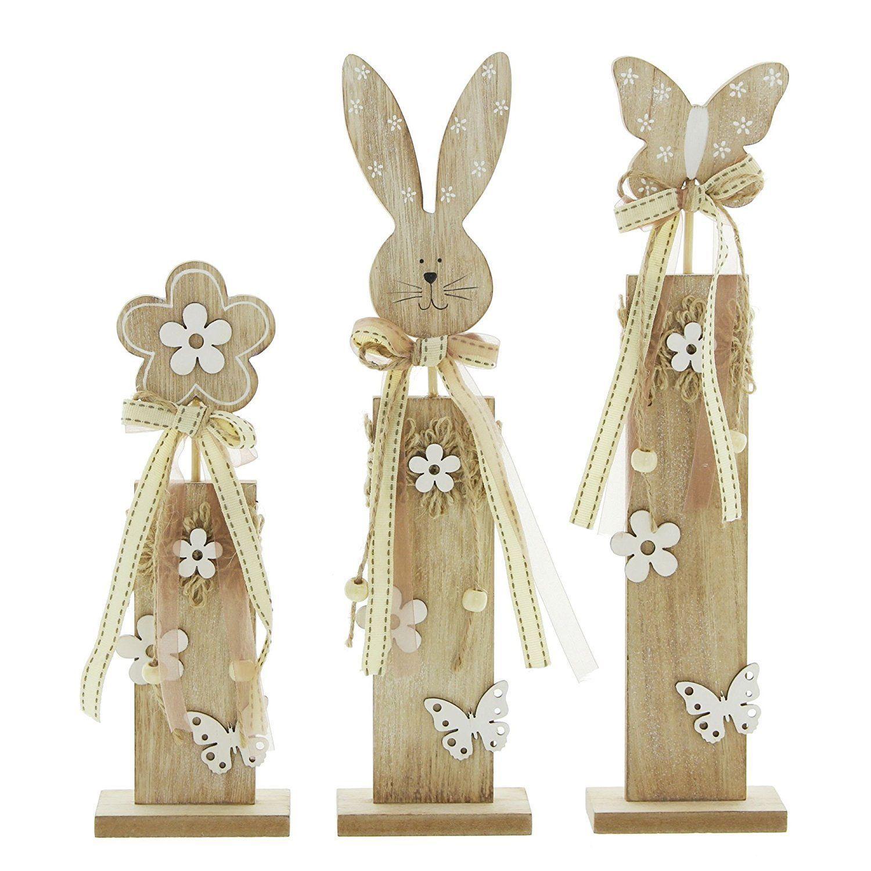 Deko Saule Hase Blume Holzsaule Landhaus Ostern Dekoration Osterdeko Shabby Chic Easter Wood Crafts Diy Easter Decorations Easter Crafts