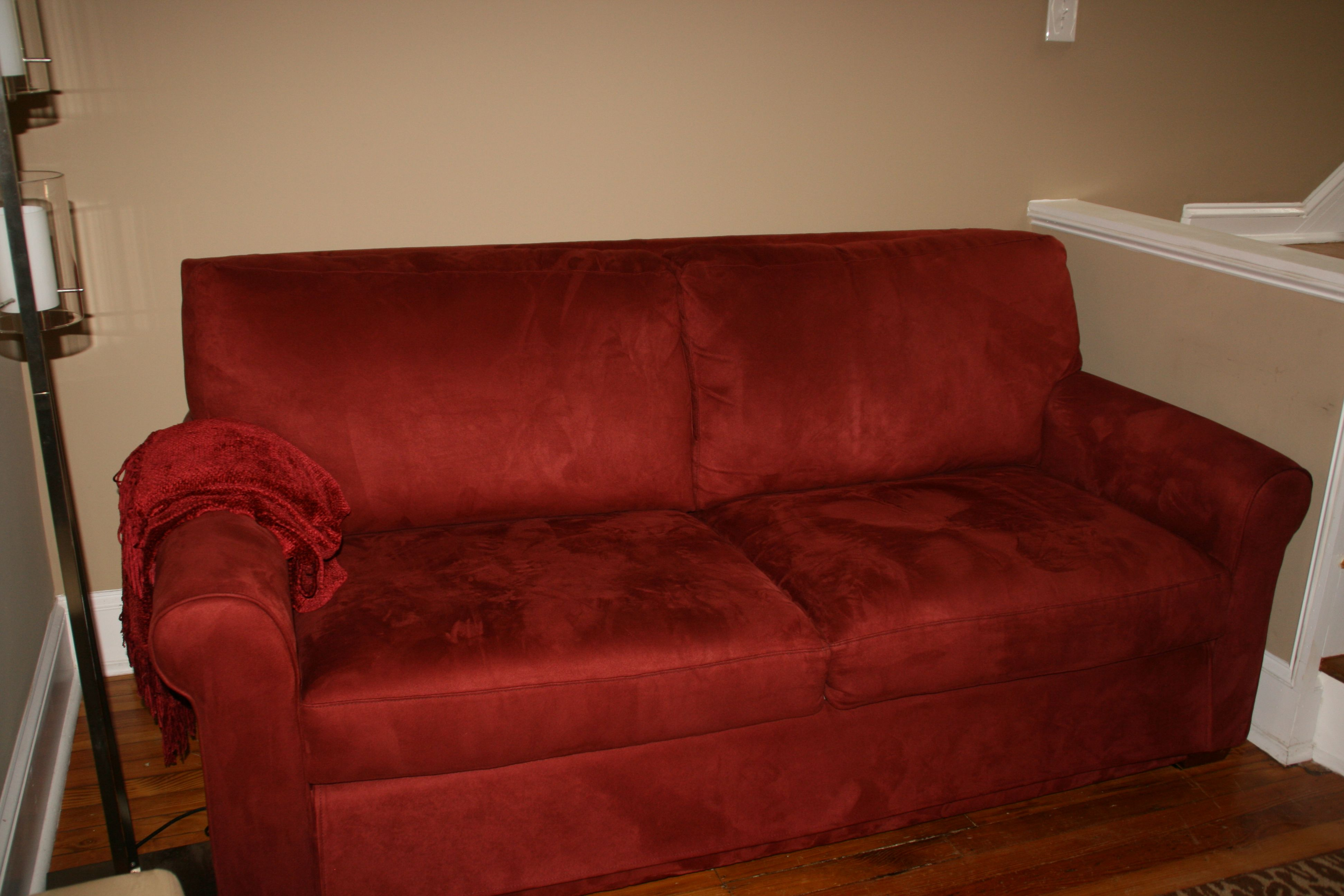 Red Suede Sofa