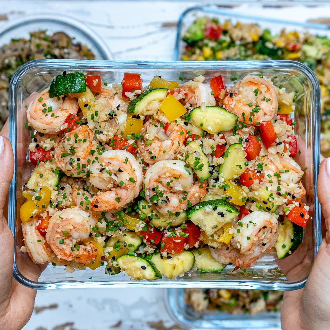 Clean Eating Shrimp Cauliflower Fried Rice for Meal Prep #cleaneating