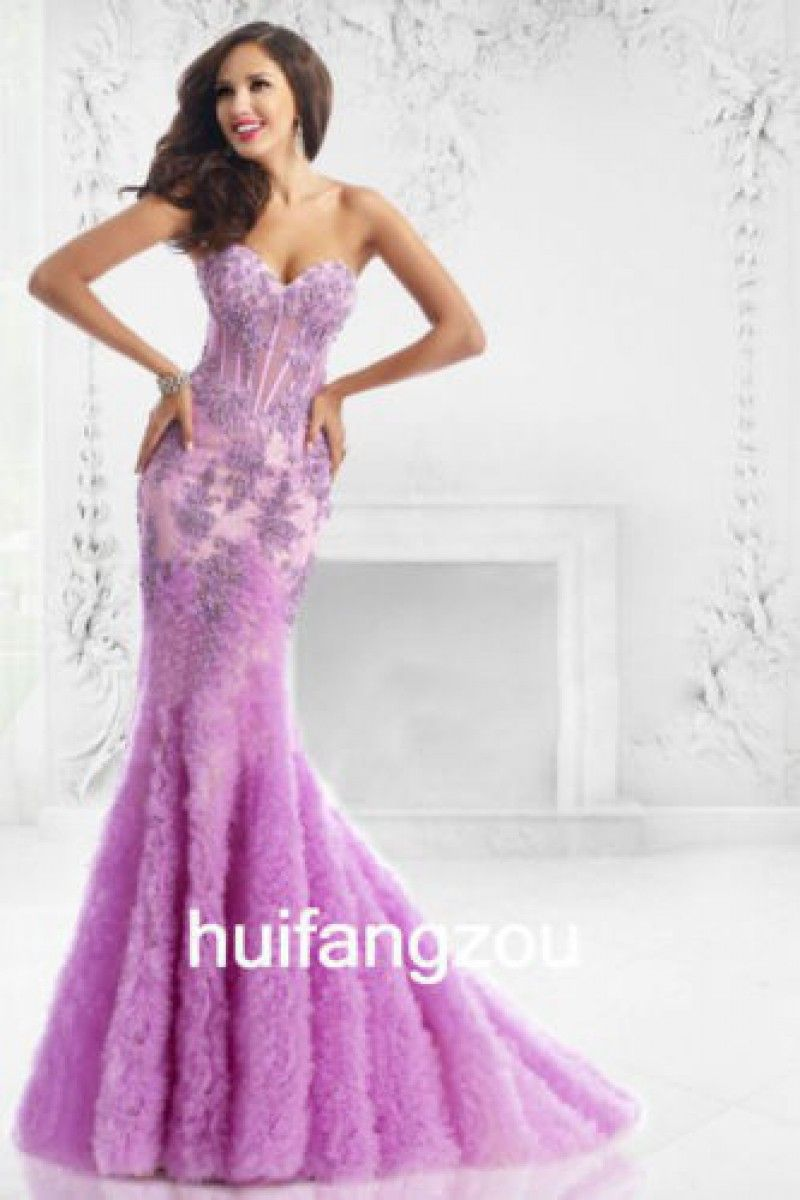2019 year style- Mermaid purple wedding gowns
