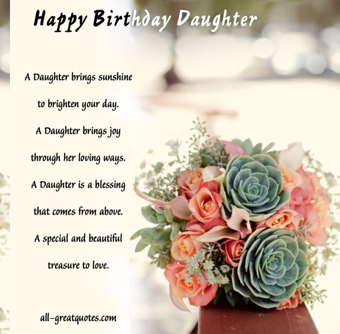 Birthday Verses For Daughter Happy Wishes Cute Quotes