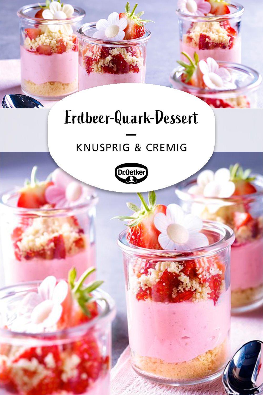 Geschichtetes Erdbeer-Quark-Dessert
