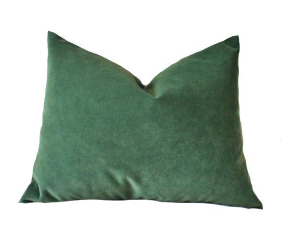 Designer Decorative Pillow Cover Green Velvet Pillow Cover