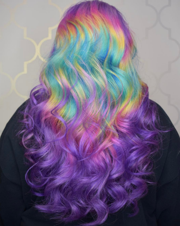 The New Shine Line Hair Trend Turns Your Head Into A Bright Rainbow Hair Trends Hair Styles Hair Color
