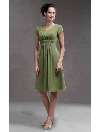 Belt Chiffon V Ausschnitt Knielange Grünes Kleider | beautiful ...