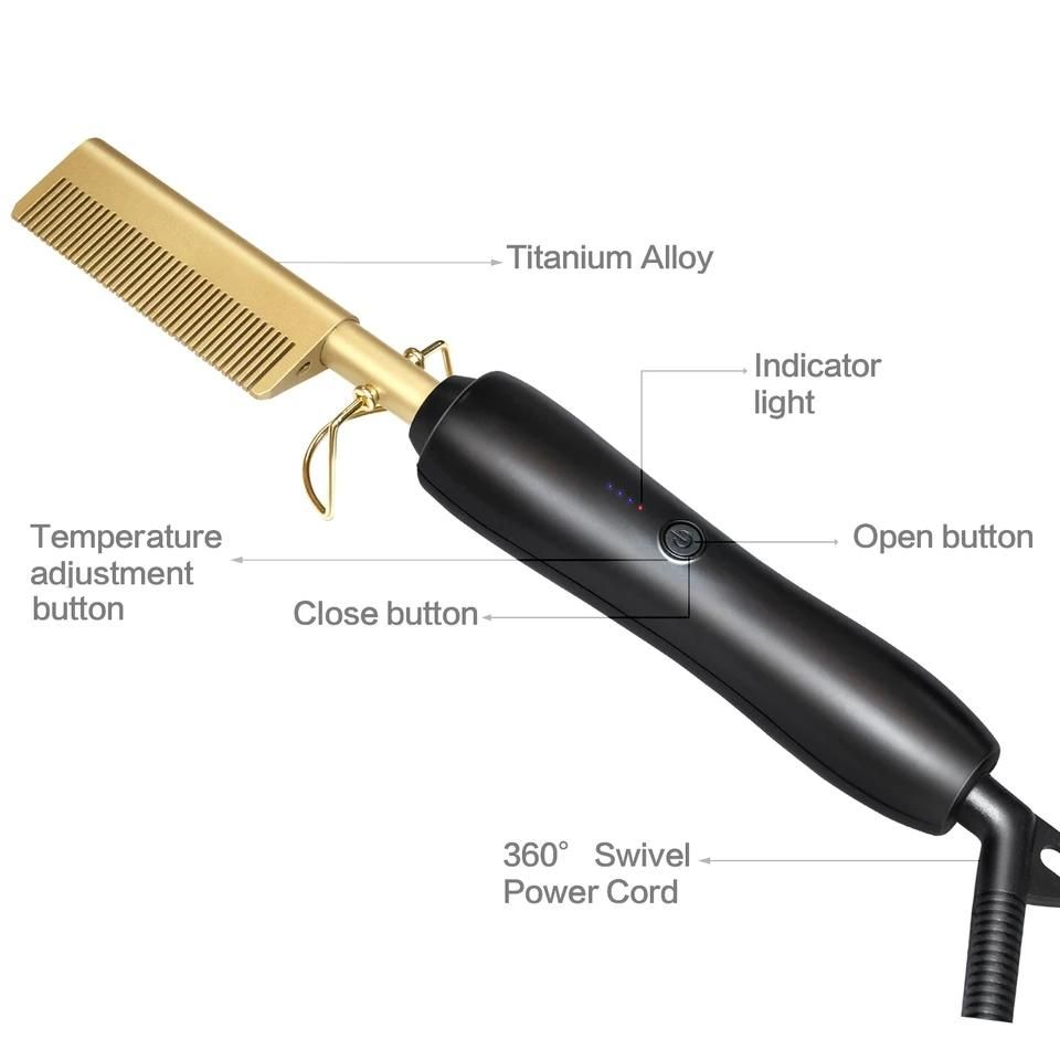 Hot Comb Wet and Dry Hair Use Hair Curling Iron Straightener