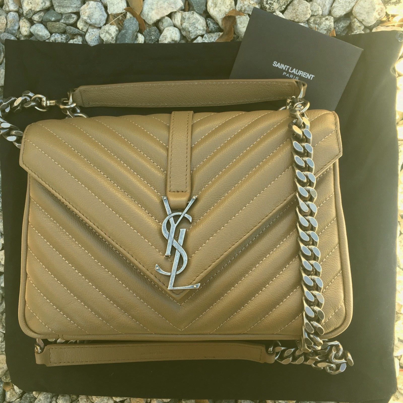 943c9cc26b YSL YVES SAINT LAURENT MEDIUM MONOGRAM COLLEGE SHOULDER BAG BEIGE ...