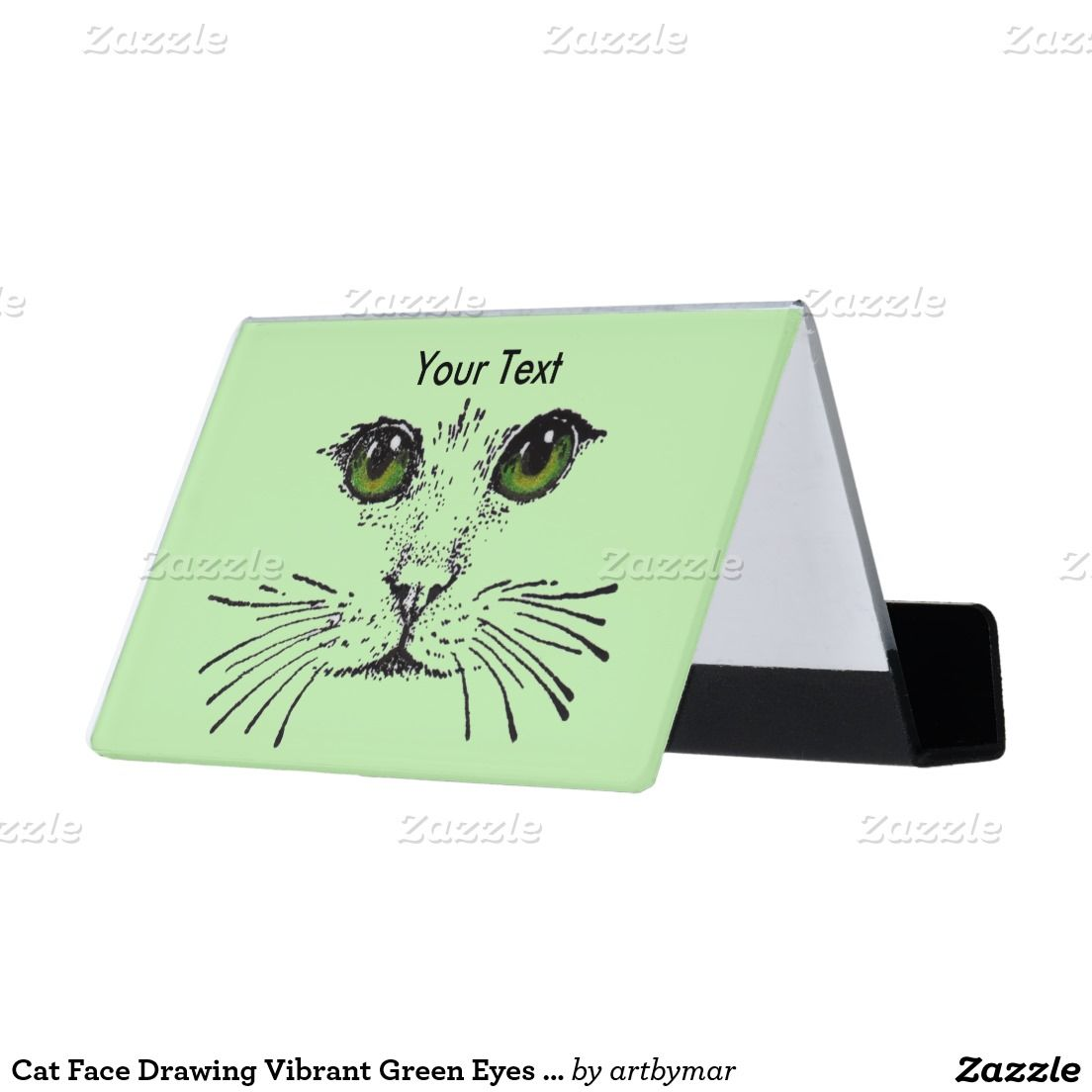 Cat Face Drawing Vibrant Green Eyes Whiskers Desk Business Card ...