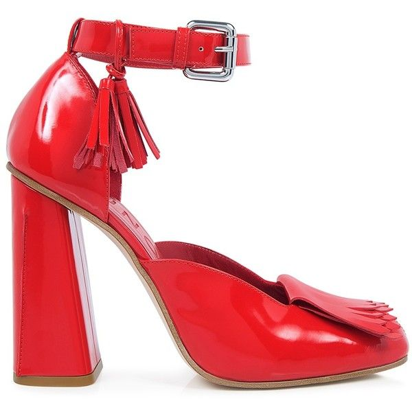 Suno - Ankle Strap High Heels ($595) ❤ liked on Polyvore featuring shoes, pumps, red shoes, high heeled footwear, retro pumps, fringe shoes and red ankle strap pumps