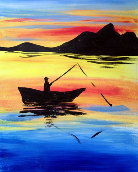 Beach Landscape With Fishermen: Sunset Fishing - Paint Nite - Lindsey Sniffin #ad