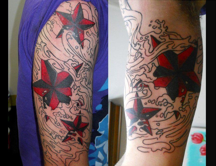 Nautical Stars Water Sleeve Tattoos Star Tattoos Nautical Star Tattoos